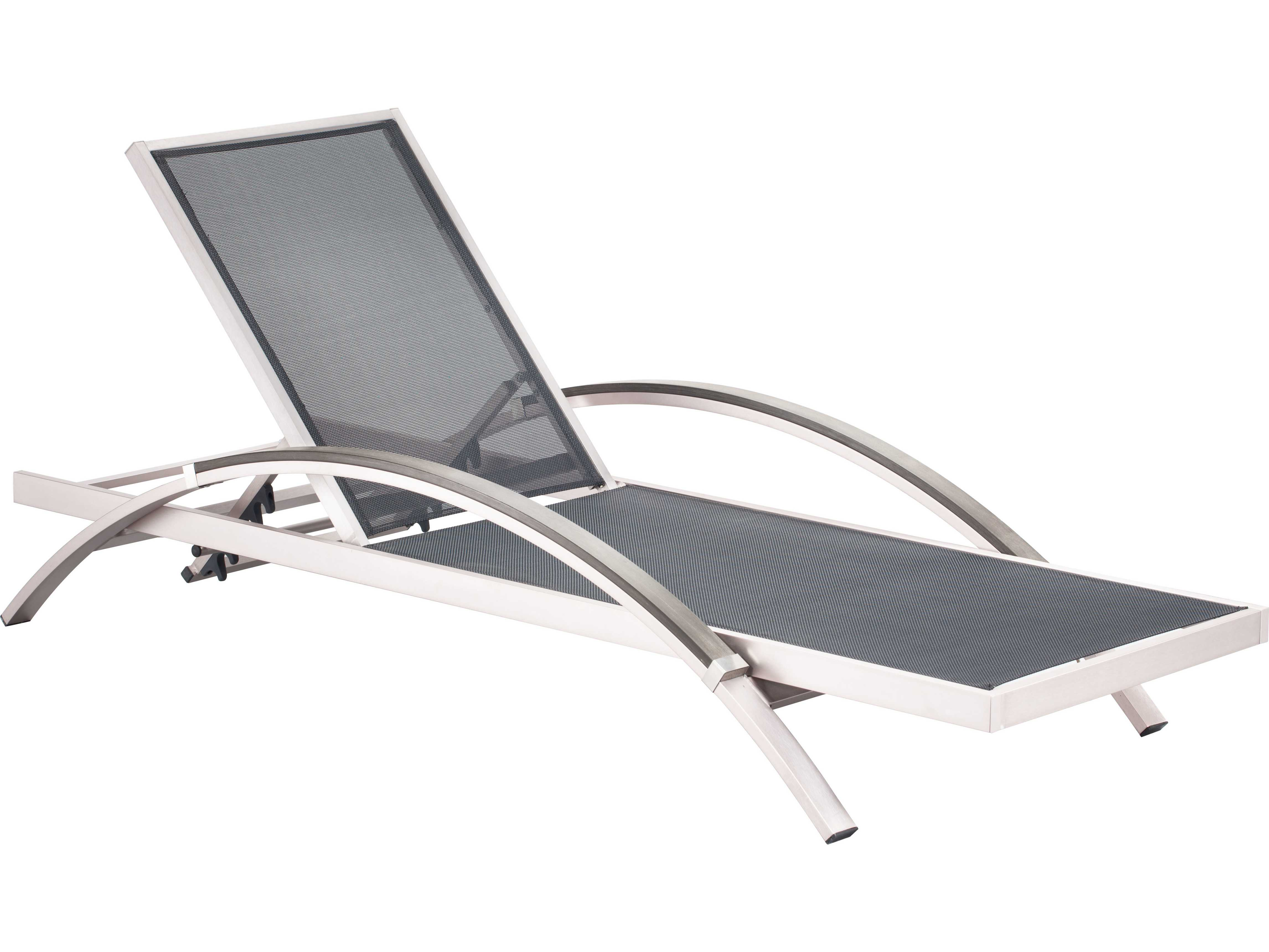 Zuo Outdoor Metropolitan Aluminum Faux Wood Mesh Chaise Lounge