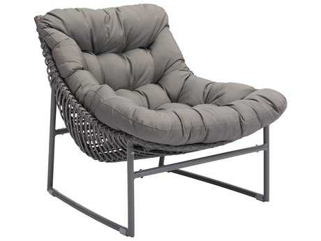 Zuo Outdoor Ingonish Beach Aluminum Polyethylene Chair in Gray