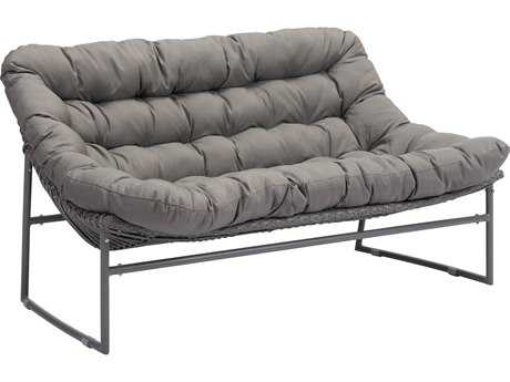 Zuo Outdoor Ingonish Beach Aluminum Polyethylene Sofa in Gray