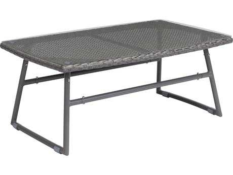 Zuo Outdoor Ingonish Beach Aluminum 36.40 x 23.6 Rectangular Glass Top Coffee Table in Gray PatioLiving
