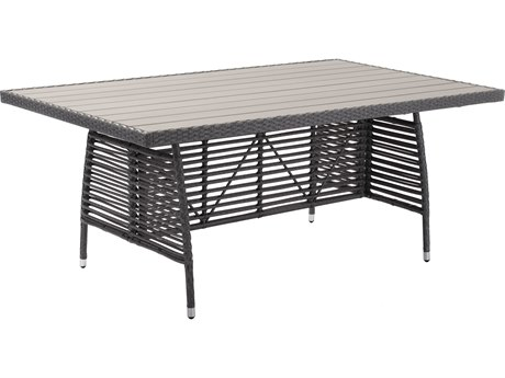 Zuo Outdoor Sandbanks Aluminum 72.8 x 42.5 Rectangular Faux Wood Top Dining Table in Gray PatioLiving