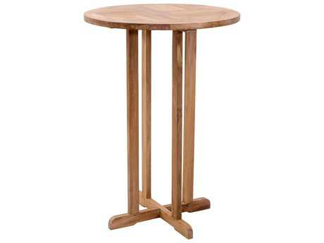 Zuo Outdoor Trimaran Teak 27.80 Round Bar Table in Natural