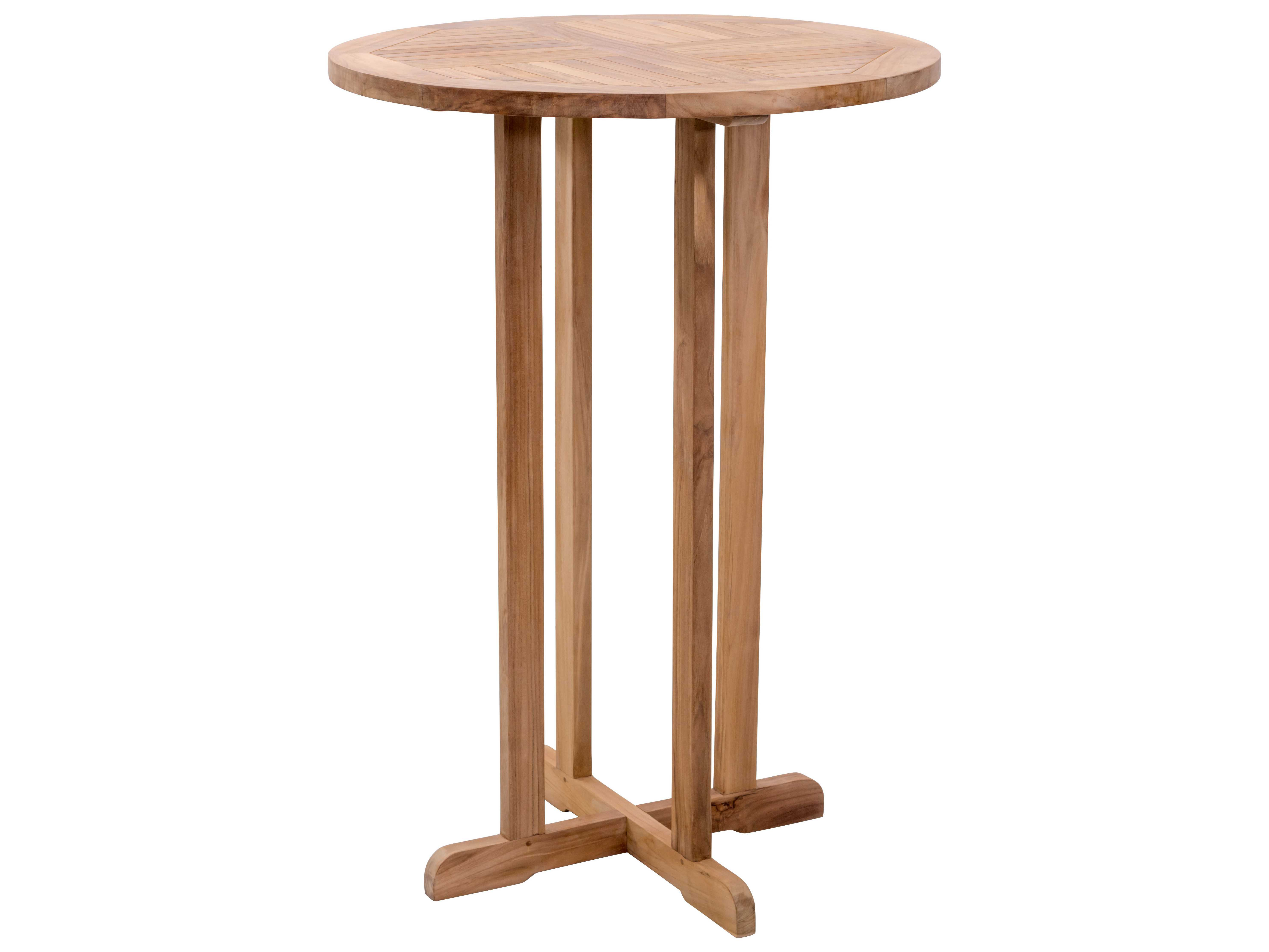 Zuo outdoor trimaran teak round bar table in natural for Table cuisine 80 x 80