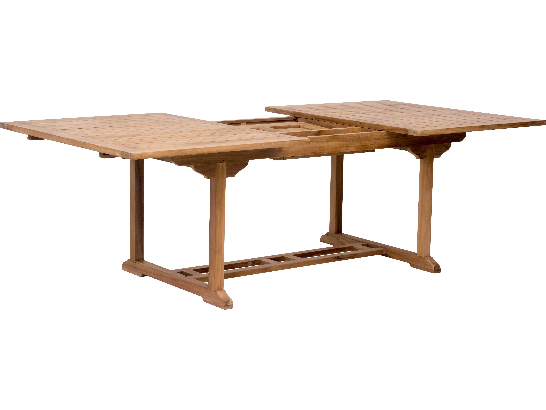 Zuo Outdoor Regatta Teak X Rectangular Extension Dining - Outdoor teak extension dining table