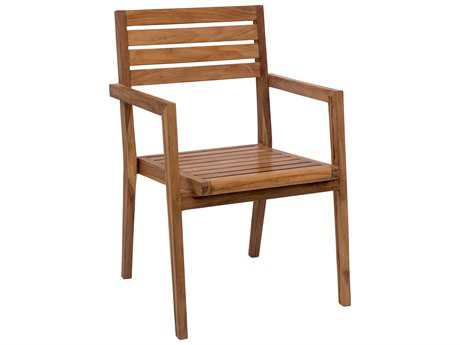 Zuo Outdoor Nautical Teak Dining Arm Chair in Natural (Sold in 2)