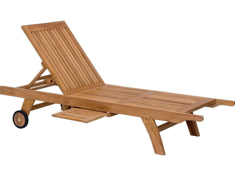 Zuo Outdoor Starboard Teak Chaise Lounge in Natural