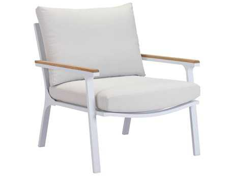 Zuo Outdoor Maya Beach Aluminum Teak Arm Chair Light in Gray in Natural & White (Sold in 2)