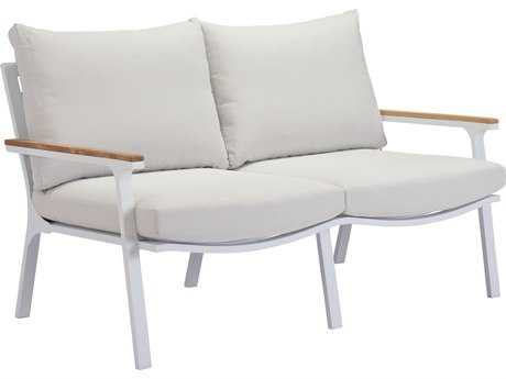 Zuo Outdoor Maya Beach Aluminum Teak Sofa Light in Gray in Natural & White