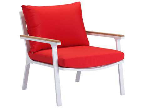 Zuo Outdoor Maya Beach Aluminum Teak Arm Chair Red in Natural & White (Sold in 2)