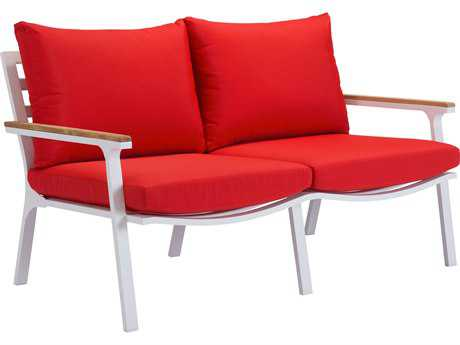 Zuo Outdoor Maya Beach Aluminum Teak Sofa Red in Natural & White