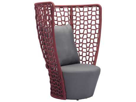 Zuo Outdoor Faye Bay Beach Aluminum Acrylic Fiber Chair Cranberry & Gray