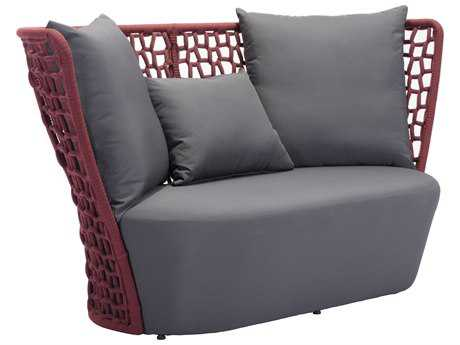 Zuo Outdoor Faye Bay Beach Aluminum Acrylic Fiber Cranberry & Gray Loveseat