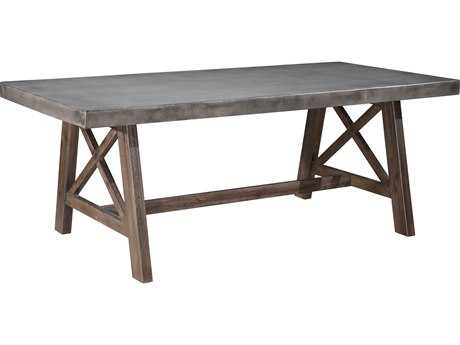 Zuo Outdoor Ford Wood 78.70 x 39.40 Rectangular Dining Table in Cement & Natural
