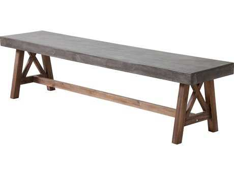 Zuo Outdoor Ford Acacia Wood Bench in Cement & Natural