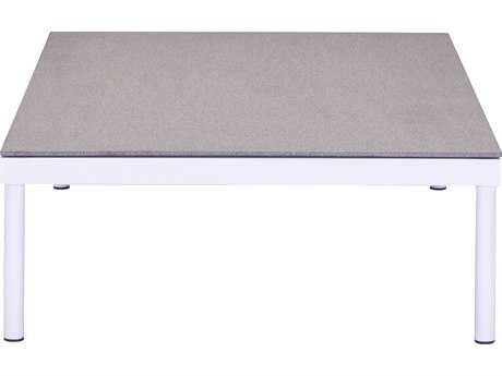 Zuo Outdoor Maya Beach Aluminum 47 x 29.5 Rectangular Coffee Granite Coated Glass Top Table in White & Granite