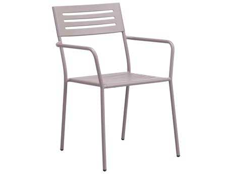 Zuo Outdoor Wald Steel Dining Arm Chair in Taupe (Sold in 2)