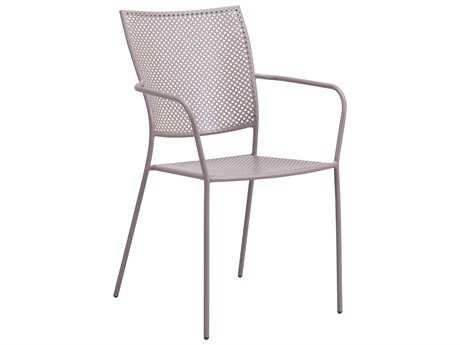 Zuo Outdoor Pom Steel Dining Chair in Taupe (Sold in 2)