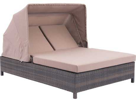 Zuo Outdoor Siesta Key Aluminum Wicker Double Chaise Lounge in Brown