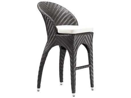 Zuo Outdoor Corona Aluminum Wicker Bar Chair in Espresso