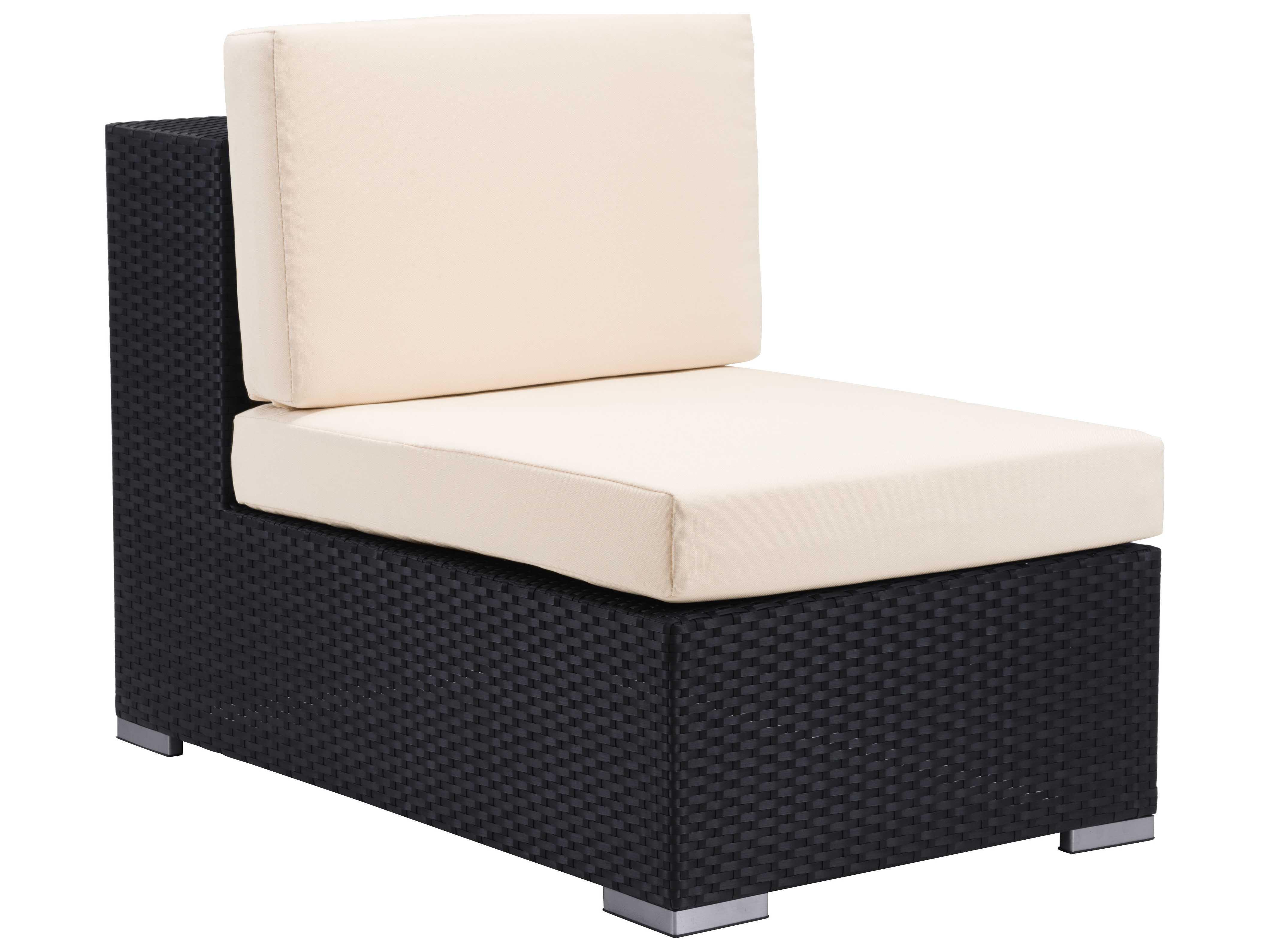 Zuo Outdoor Cartagena Aluminum Wicker Middle Chair in Espresso