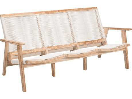 Zuo Outdoor West Port Teak Synethetic Weave Sofa in White Wash & White