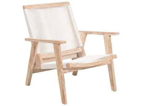 Zuo Outdoor West Port Teak Synethetic Weave Arm Chair in White Wash & White