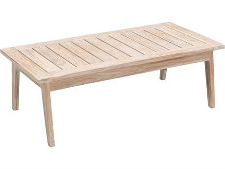 Zuo Outdoor West Port Teak 47.20 x 23.60 Rectangular Coffee Table in White Wash