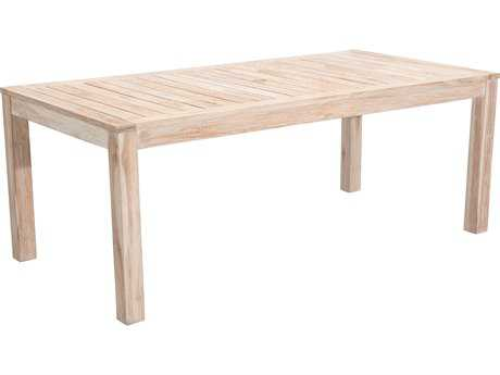 Zuo Outdoor West Port Teak 78.7 x 39.4 Rectangular Dining Table in White Wash