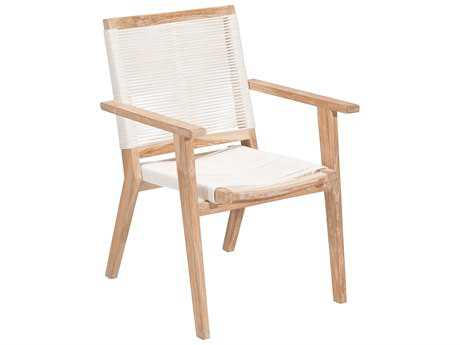 Zuo Outdoor West Port Teak Synethetic Weave Dining Chair in White Wash & White