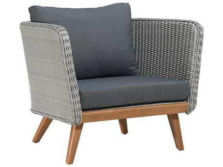 Zuo Outdoor Grace Bay Acacia Wood Synethetic Weave Arm Chair in Natural & Gray