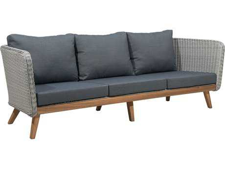 Zuo Outdoor Grace Bay Acacia Wood Synethetic Weave Sofa in Natural & Gray