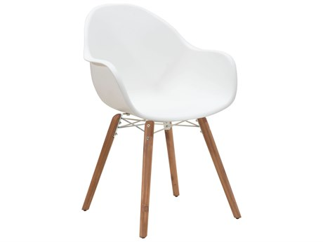 Zuo Outdoor Tidal Acacia Wood Polypropylene Dining Chair in White Set of Four PatioLiving