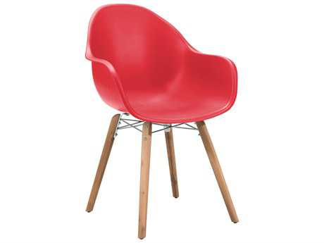 Zuo Outdoor Tidal Acacia Wood Polypropylene Dining Chair in Red (Sold in 4)
