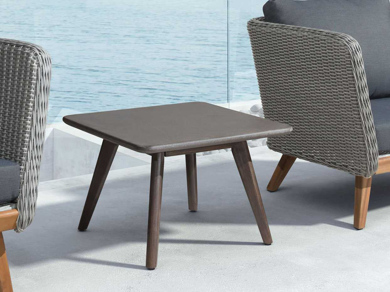 Zuo Outdoor Daughter Acacia Wood 23.60 Square Poly Cement Top Coffee Table  In Natural | 703755