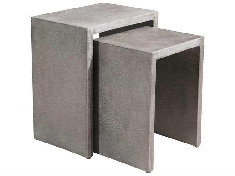 Zuo Outdoor Mom Poly-cement 16.5 x 12.3 Rectangular Nesting Side Table in Cement PatioLiving