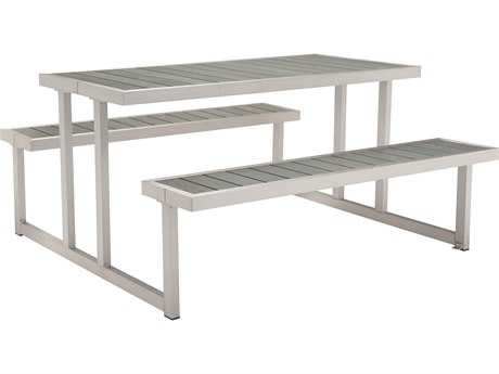 Zuo Outdoor Cuomo Aluminum Faux Wood 62.60 x 59 Rectangular Picnic Table