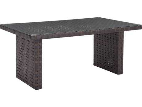 Zuo Outdoor Pinery Aluminum Wicker 67.30 x 39.40 Rectangular Glass Top Dining Table in Brown