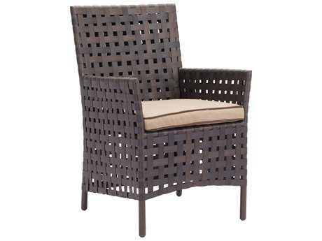 Zuo Outdoor Pinery Aluminum Wicker Dining Chair in Brown & Beige (Sold in 2)