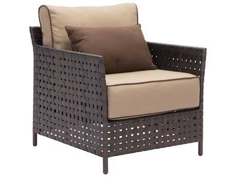 Zuo Outdoor Pinery Aluminum Wicker Arm Chair in Brown & Beige (Sold in 2)