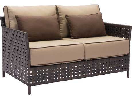 Zuo Outdoor Pinery Aluminum Wicker Sofa in Brown & Beige