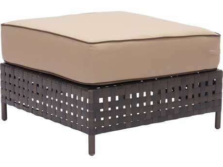 Zuo Outdoor Pinery Aluminum Wicker Ottoman in Brown & Beige