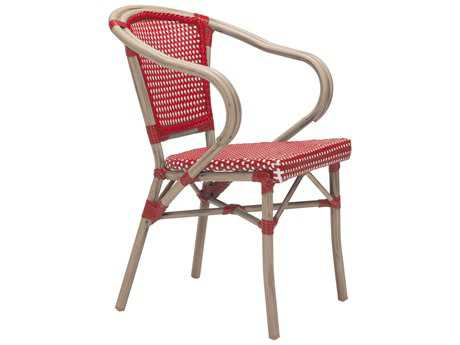Zuo Outdoor Paris Aluminum Wicker Dining Arm Chair in Red & White (Sold in 2)