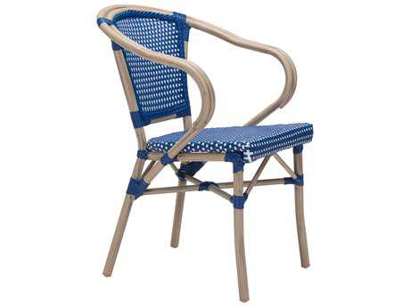 Zuo Outdoor Paris Aluminum Wicker Dining Arm Chair in Navy Blue & White (Sold in 2)