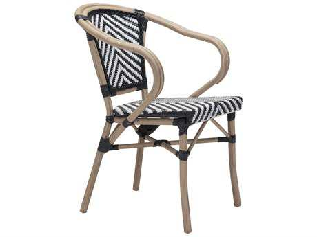 Zuo Outdoor Paris Aluminum Wicker Dining Arm Chair in Black & White (Sold in 2)