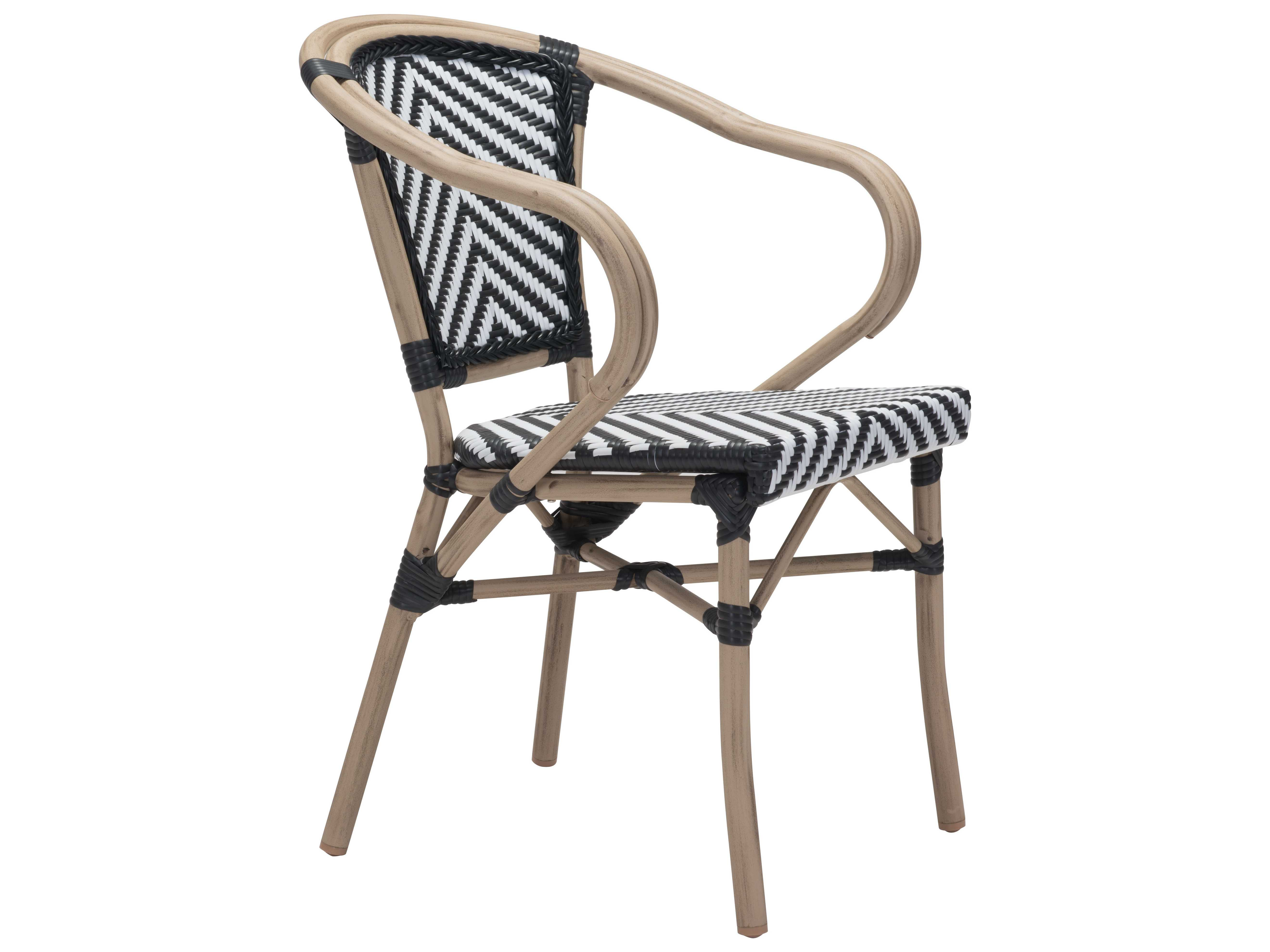 Zuo Outdoor Paris Aluminum Wicker Dining Arm Chair in ...