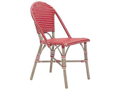 Zuo Outdoor Paris Aluminum Wicker Dining Chair in Red & White (Sold in 2)