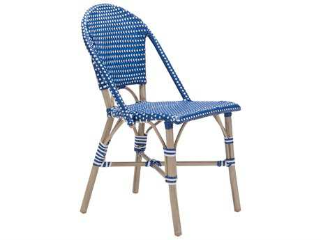 Zuo Outdoor Paris Aluminum Wicker Dining Chair in Navy Blue & White (Sold in 2)