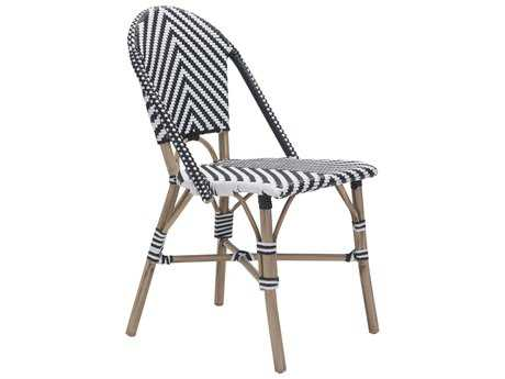Zuo Outdoor Paris Aluminum Wicker Dining Chair in Black & White (Sold in 2)