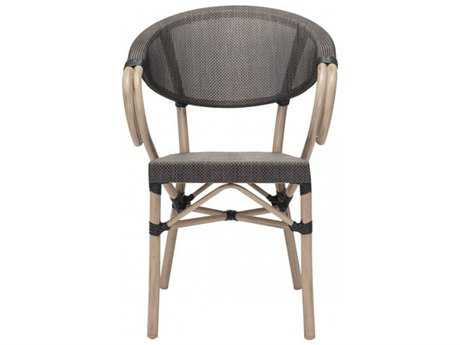 Zuo Outdoor Marseilles Aluminum Wicker Dining Chair in Dark Brown (Sold in 2)