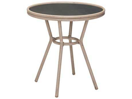 Zuo Outdoor Marseilles Aluminum 27.40 Round Glass Top Bistro Table Dar in Brown